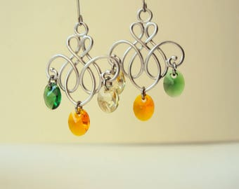 Silver Chandelier Earrings, Romantic Swarovski Earrings, Drop Earrings, Charm Earrings, Orange, Green, Fall Jewelry, Gift for Her, Everyday