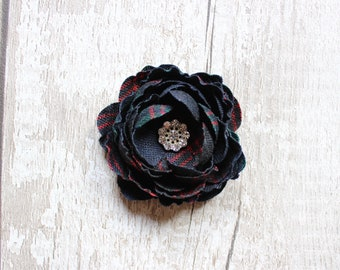 Tartan Hair Flower (5 Colours Available). Scottish Wedding. Scottish Bride. Scottish Gift. Celtic Bride. Wedding Favour. Tartan Accessory.