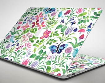 Butterflies and Flowers Watercolor Pattern - Apple MacBook Air or Pro Skin Decal Kit (All Versions Available)
