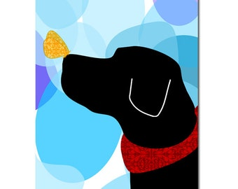 Black Labrador Retriever - Fine art print, wall decor, illustration, pet, animal, silhouette, black lab, lab art