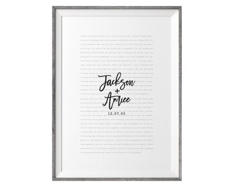 Valentines Day Gift. Wedding Vows Keepsake Print for Newlyweds & Anniversaries - Love Notes