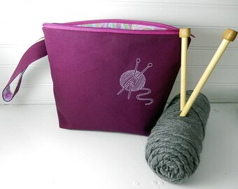 Purple Knitting bag, Crochet project bag, small project bag, knitters gift, knitting zipper pouch, knitting bag, gift for knitter