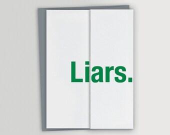 Liars - Funny Christmas or Hanukkah Card - Foldout Greeting card