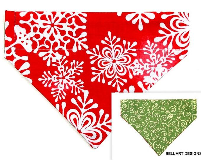 DOG BANDANA ~ Over the Collar ~ Reversible ~ Christmas ~ Snowflakes ~ Bell Art Designs ~ Small 427
