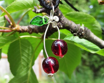 Cherry Pendant- Sterling Silver Wire Cherry Necklace, Red Glass Beads Cherries, Cherry Jewelry, Rockabilly Fruit Necklace Gift for Her Women