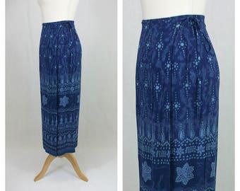 ANGIE 90s vintage skirt. Maxi skirt. Long skirt. Blue printed skirt. Spring summer skirt. Sarong skirt. Beach skirt. S size.