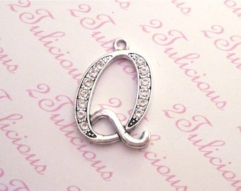 LETTER Q, ALPHABET, Crystal, Pendant, Initial, Charm, antique silver, wedding, jewelry