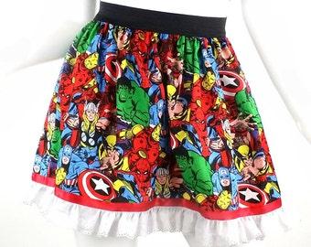 Women Super Hero Skirt, Marvel Full Skirt with Lace Trim, Super Hero Full Skirt
