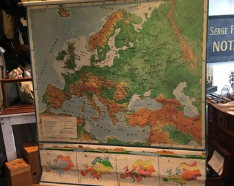 Large geographic vintage map of Europe Nystrom