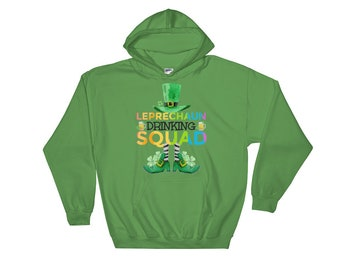 St PATRICKS DAY/Leprechaun Drinking Squad/Beer Team/Drinking/St Pats Day/Lucky/Rainbow/Irish/Men/Women/Sizes S-2 XL Hoodie Hooded Sweatshirt