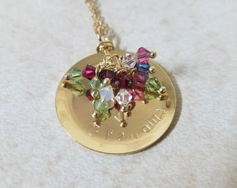 Grandmother's Necklace - Hand Stamped - Jewelry - Birthstone Necklace - Personalized Jewelry - Custom Jewelry - Swarovski Crystal - Family