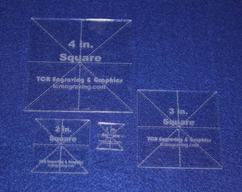 "4 Piece Square Set 1"", 2"", 3"" ,4"" 1/8"" Clear Acrylic - Quilting Templates- No seam."