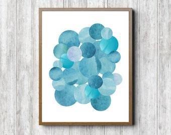Abstract Circles Wall Decor - Watercolor Circles Wall Art - Blue Art Print - Boys Room / Nursery Art Poster - Office Wall Art