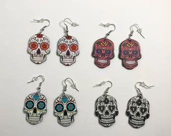 ONE pair of plastic sugar skull / calavera earrings