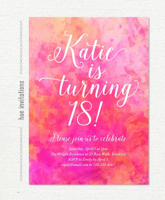 Pink watercolor 18th birthday party invitation pink coral like this item stopboris Choice Image