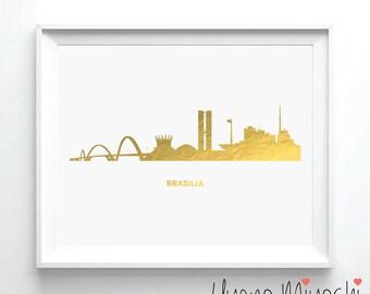 Brasilia Skyline Gold Foil Print, Gold Print, Map Custom Print in Gold, Art Print, Brasilia Brazil Skyline Gold Foil Art Print