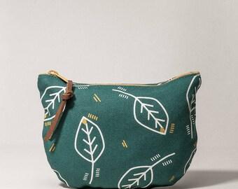 Cotton wallet, zipper pouch green
