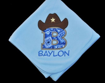 Personalized Cowboy Letter Baby Blanket