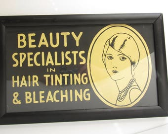 Vintage BEAUTY SALON Ad Framed Cardboard Shop Sign Beauty Specialists Hair