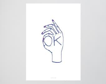 OK / Hand, Okay, Fine Art-Print, Wall-Art, Minimal Poster Art, Typography Art, Premium Poster, Kunstdruck Poster