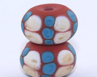 Chaco Canyon...Coral, Turquoise, and Ivory Spotted Tumbled Lampwork Bead Pair