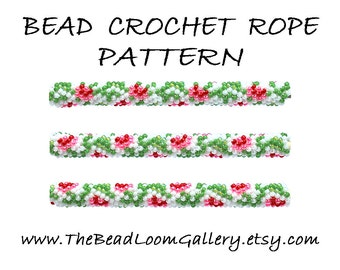 Bead Crochet Rope Pattern - Vol. 55 - Red Roses - PDF File