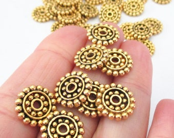 Gold Round Spacer Beads - Spotted Flat Disc Slider - Hobnail Edged - Saucer Shape Metal Bead Cap - Diy Jewelry Supplies - 30 Pcs - 14mmx2mm