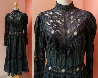 Black Mexican Dress Large | 70s Dress Long Sleeve | Vintage Lace Dress Women | 1970s Maxi Dress | Cotton Dress | Womens Boho Black Dress