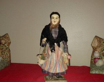 "Antique 10"" Bernard Ravca Basque Peasant Woman Stockinette Doll w/Original Tag"
