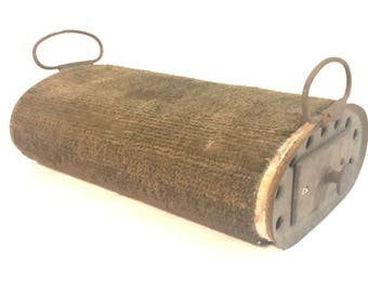 Antique Foot Warmer Clark Heater Carpeted Steel for Buggy Transportation