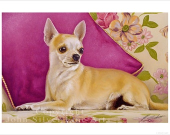 Chihuahua Dog Portrait by award winning artist John Silver. Personally signed A4 or A3 size Print. CH002SP