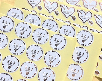Real Foil Wedding Stickers - Personalised, Custom. Perfect for invitations,  thank you cards, stationery. Choice of Colours and Shapes.