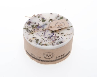 Handmade Scented Natural Candle With Wild Flowers D 7.5 H 5 cm