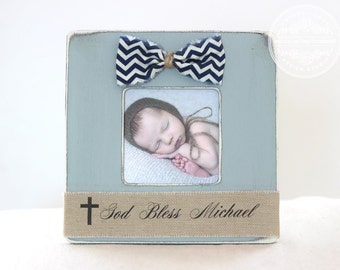 Baptism Gift, Christening Gift, Dedication Gift, God Bless Picture Frame, Personalized Gift