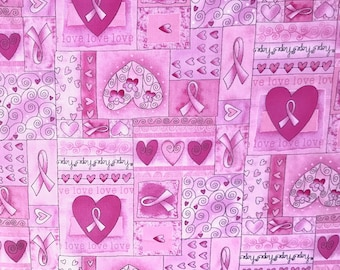 Breast Cancer Awareness Pink ribbon fabric, 100% cotton for Quilting, arts, crafts and general sewing projects.