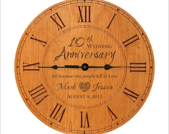 """Personalized Anniversary Clock, 1st, 5th, 10th, 25th, 50th Anniversary, """"All because two people fell in love."""" Great Anniversary Gift"""