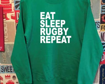 Eat Sleep Rugby Repeat Sweatshirt. Rugby Sweatshirt. Rugby Fan Gift. Rugby World Cup.