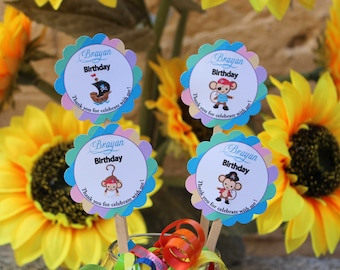 Personalized Pirates Birthday Cupcake Toppers, Set of 12