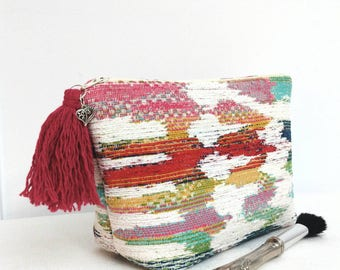 Makeup bag, boho makeup bag, global makeup bag, colourful boho global cosmetic bag, boho pouch, women gift, boho gift, Boho bridesmaid gift