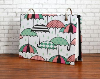 3 x 5 or 4 x 6 index card binder, umbrellas, pink and green, sturdy chipboard cover,recipes, bible scriptures, class notes, flash cards