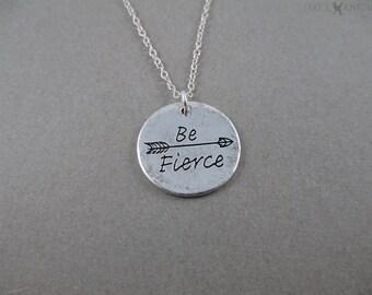 Be Fierce Arrow Pendant Necklace - Silver