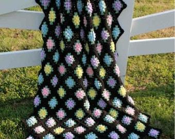 Vintage Granny Popcorn Afghan Crochet Pattern - PDF