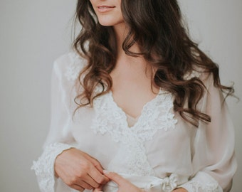 Lace Bridal Robe | Floor Length Robe | Ivory Silk Chiffon Robe | Long Wedding Robe | Lace Bridesmaid Getting Ready Robe [Valencia Robe]