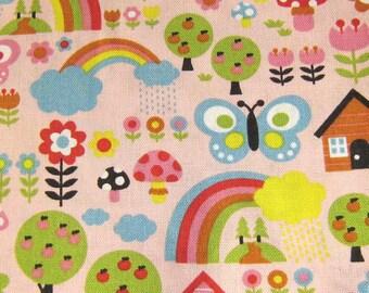 Garden fabric, Butterflies and Mushroom In The Garden Cotton Fabric by The Yard Kawaii Fabric, Pink fabric