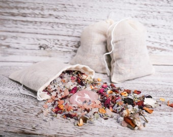 BATH TEA // herbal bath soak // Rose Quartz - Lavender Rose Orange Sage Pink Salt Bath Soak Gifts for Her