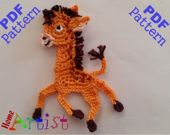 Giraffe Crochet Applique Pattern