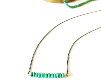 Small Turquoise Stone Bar Necklace