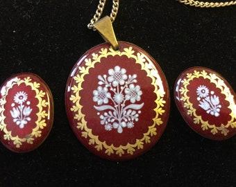 Vintage Eva Scherer Wien Austria Enamel Three-Piece Set, necklace and earrings