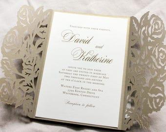 Gold shimmer wedding invitation set, gatefold wedding invitation, Rose wedding invitation pocketfold, Gold and cream wedding invitations
