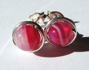 6mm Striped Pink Agate Studs Agate Post Earrings in Sterling Silver Stud Earrings